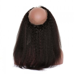 Kinky Straight 360 Lace Frontal Closure Pre Plucked Brazilian Virgin Hair Lace Frontal Natural Hairline 22.5*4*2