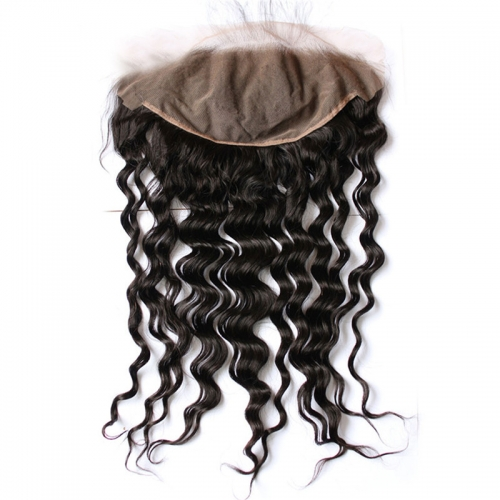 Pre Plucked Lace Frontal Closure 13X6 Human Hair Indian Virgin Hair loose deep wave Natural color density 130% Bleached knots