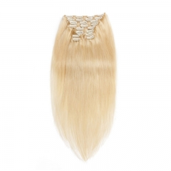 120g 10pcs Clip In Human Hair Extensions Silky Straight Brazalian Virgin Hair 613# Color