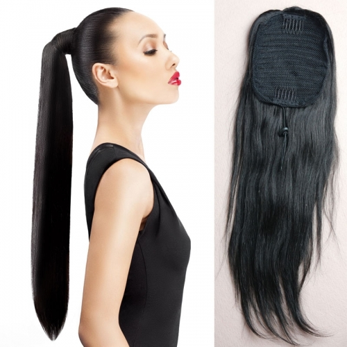 Brazilian Human Hair Long Straight Ponytail Wrap Hair Extension Natural Black Hair Clip In ponytail