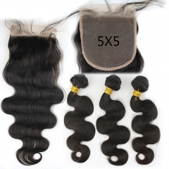 Brazalian Virgin Hair  Body Wave 3 Bundles with Lace Closure 5x5 130% Density Human hair Natural Color