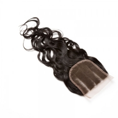Indian Remy Hair Water Wet Wave Three Part Lace Closure 4x4 inchs Natural Color
