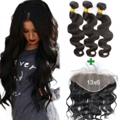 13X6 Ear To Ear Lace Frontal Closure Brazilian Body Wave 3 Bundles Human Hair Pre Plucked