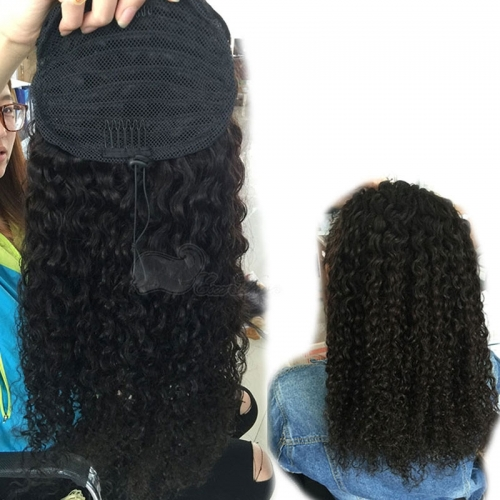 Ponytail Wrap Hair Extension Natural Black Hair Clip In ponytail 7A Brazilian Virgin Hair water wave