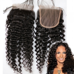 Top 7A Brazilian Kinky Curly Lace Closure Kinky Curly Closure 4X4 Fashion Curly 8-20 Inch