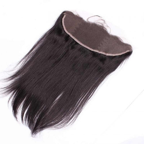 Natural Color Silk Straight Brazilian Human Hair Ear to Ear Lace Frontal Closure 13x4inchs