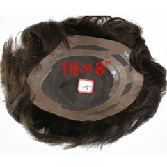 Men's Toupee 10×8 inch Real Human Hair 4# Color Thin Skin Hairpiece Hair Replacement System Monofilament Net Base for Men