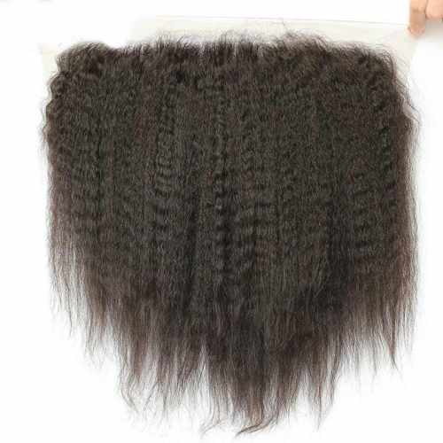 13x6 Lace Frontal Brazilian Kinky Straight Deep Free Part Natural Color Natural Hairline