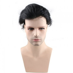 Men's Hairpiece Human Hair Toupee Wig Super Thin Skin Hair Replacement (#1B Off Black)