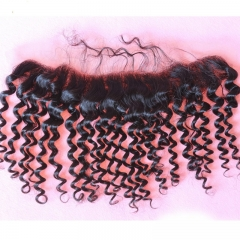 Kinky Curly Lace Frontal Piece 13x2 Frontal Closure Ear to Ear Lace Frontal With Baby Hair Malaysian Virgin Hair