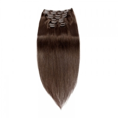 120g 10pcs Clip In Human Hair Extensions Silky Straight Brazalian Virgin Hair Natural Color