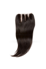 Real Human Hair Silky Straight Three Part Lace Closure 4x4 inchs Natural Color
