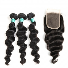 7A Unprocessed Brazilian Virgin Hair Lace Closure With Hair Bundles Human Virgin Hair Extension Loose Wave With Closure 4pcs/lot