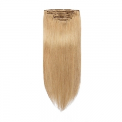 100g 7pcs Virgin Hair Clip in Extension Silky Straight Light Blonde Color