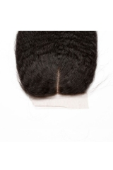 Natural Color Affordable Kinky Straight Brazilian Human Hair 4x4 Silk Base Closure