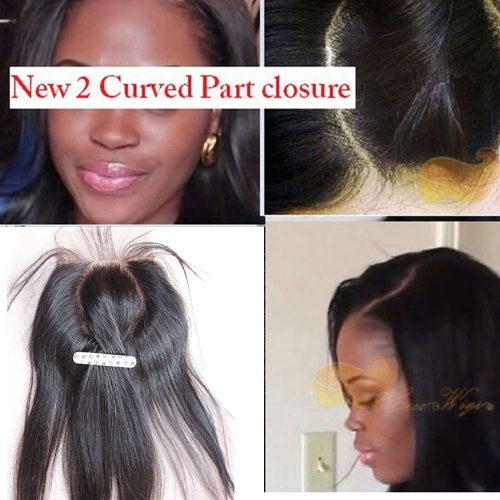 4x4 Straight 2 Curved O Part Lace Closure With Bleached Knot 7A Grade 100% Unprocessed Malaysian Virgin Human Hair