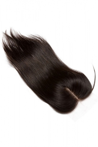 Natural Color Silk Base Closure Silky Straight Free Part Brazilian Human Hair 4x4