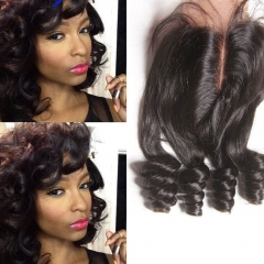 Peruvian Bouncy Curly Lace Closure Unprocessed Aunty Fumy Hair Closure With Baby Hair Free Middle Part 4*4 Inch