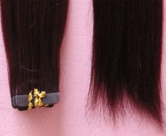 99J Color Tape Hair Piece Real Human Hair Virgin Peruvian Hair Glue Tape Hair Extensions