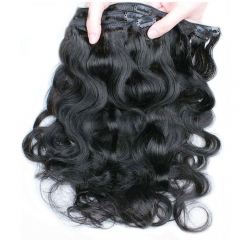 Clip In Human Hair Extensions Body Wave Brazilian Virgin Hair Natural Color