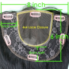 New Cheap Lace Frontal Closure With Combs 8X6 Inch 100 Human Hair 7A Brazilian Virgin Hair Straight  Natural Color In Stock