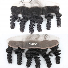 Loose Wave 13X2 Ear To Ear Lace Frontal Closure Brazilian Virgin Human Hair Medium Brown Swiss Lace Frontal With Baby Hair