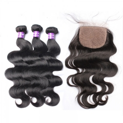 Brazalian Virgian Hair 4x4 Silk Base Closure with 3  Bundles Body Wave Natural Color Free Shipping