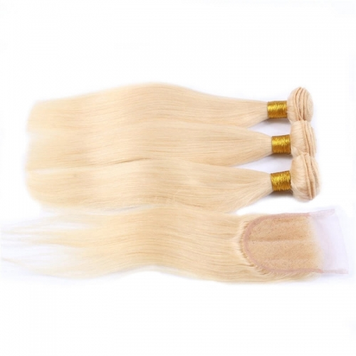 #613 Blonde 4x4 Lace closure With 3 Bundles Brazilian Straight Virgin Human Hair 4Pcs Lot