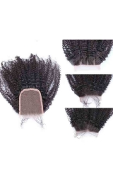Mongolian Virgin Hair Afro Kinky Curly Free Part Lace Closure 4x4 inchs Natural Color