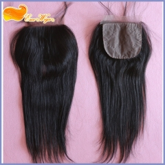 Brazilian Straight Silk Base Closure With Bundles 100g/pc 1pc Silk Base Closure And 3pcs Hair Bundles Free Shipping