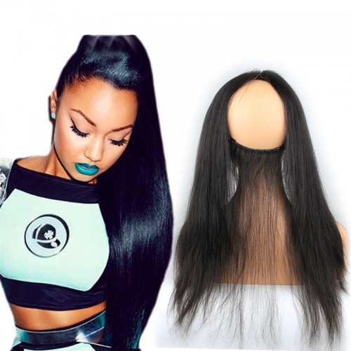 Silky Straight 360 Lace Frontal Closure 13X4 Back With Adjust Strap Brazilian Hair 360 Lace Band