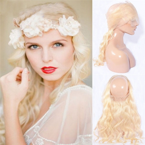 360 Lace Frontal Blonde #613 Body Wave Brazilian Virgin Remy Human Hair Lace Band Frontal Closure Natural Hairline Bleached Knots with Baby Hair