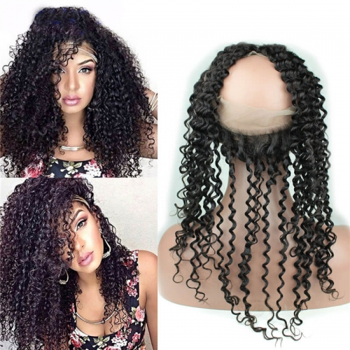 8A Grade 360 Lace Frontal Band Closure 22.5x4x2inch brizalian Virgin hair Kinky Curly 360 Degrees Closure In Stock