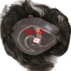 Men's Toupee 10×8 inch 100% Human Hair 3# Color Thin Skin Hairpiece Hair Replacement System Monofilament Net Base for Men