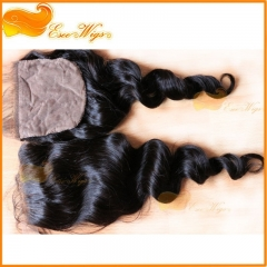 100 Brazilian Loose Wave Silk Base Closure 4X4 Free Middle 3 Part Top Silk Base Natural Color