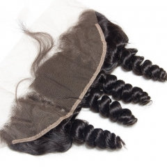 13x4 Loose Wave Pre Plucked Lace Frontal Closure With Baby Hair Ear To Ear Bleached Knots 100 % Remy Human Hair Weave