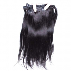 Clip In Human Hair Extensions Silky Straight Brazilian Virgin Hair Natural Color
