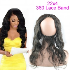 360 Lace Frontal Closure With Adjustable Straps Brazilian Hair Body Wave 360 Lace Band 22x4