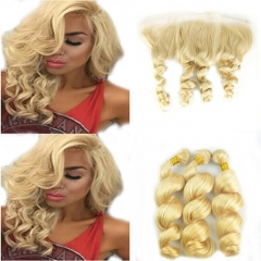 #613 Blonde 13x4 Lace Frontal Closure With 3 Bundles 4Pcs Lot Unprocessed Brazilian Virgin Human Hair Weave Loose Wave Wavy With Free Part Ear To Ear