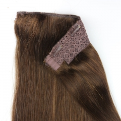 7A Unprocessed Vietnamese Virgin Hair 4# Light Brown Flip Hair Extension 100g/pc 100 Human Hair Straight Flip Hair Extension