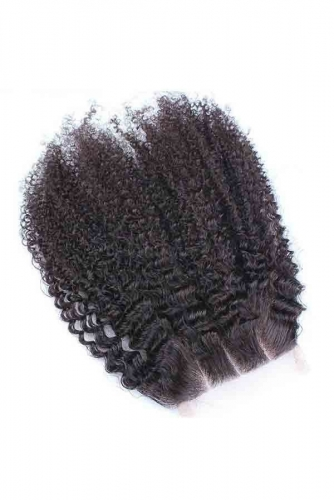 Mongolian Hair Afro Kinky Curly 4x4 Swiss Lace Closure Natural Color