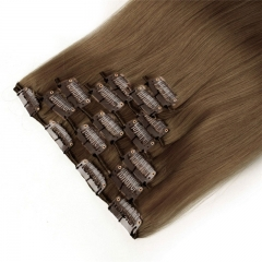 100g 7pcs Clip in Human Hair Extension Silky Straight 100 Brazilian Human hair 8# color
