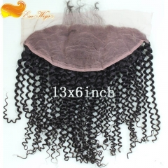 Pre Plucked 13X6 Mongolian Kinky Curly Virgin Hair Lace Frontal Closure Bleached knots  Natural Color Density 130% In Stock
