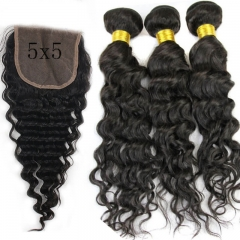 7A 5x5 Brazilian Deep Wave With Closure 3 Bundles Hair Weave With 1 Lace Closure Cheap Brazilian Virgin Human Hair Weave Bundles