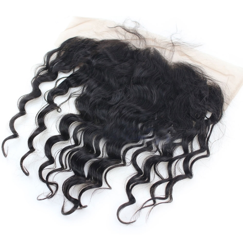 Pre Plucked 13X6 Ear To Ear Loose wavy Lace Frontal Closure With Baby Hair Top Grade 8A  Brazilian Hair Natural Color Density 130%