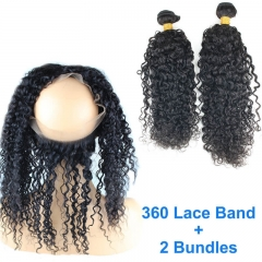 8A Brazilian Human Hair 22.5x4x2 360 lace band frontal with bundles Hair Extension Water Wave 360 lace Band virgin hair 3pcs/lot