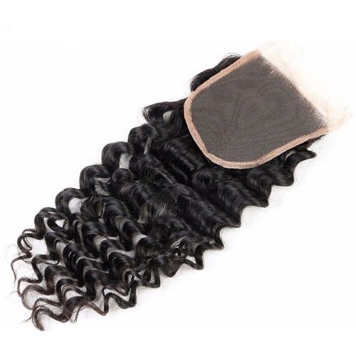 Excellent Deep Curly Mongolian Hair Loose Deep Wave Swiss Lace Closure 4*4 Unprocessed Human Virgin Hair Mongolian Hair