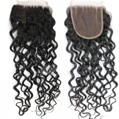 Vietnamese Remy Hair Lace Closure Deep Curly 4X4 1B Color Density 120%