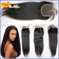 Brazilian Straight Human Hair Lace Closure Bleached Knots 4X4 Inch