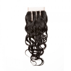 Mongolian Virgin Hair Wet Water Wave Three Part Lace Closure 4x4 inchs Natural Color